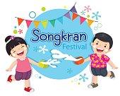 Vector illustration of boy and girl enjoy splashing water in Songkran festival, Thailand