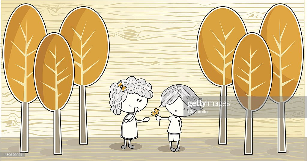 Boy and Girl in a Forest : Vector Art