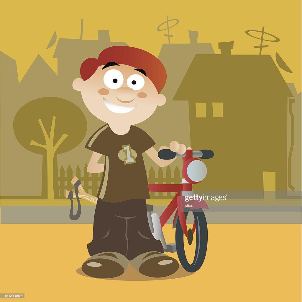 boy and the bike : Vector Art