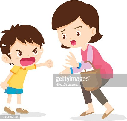 boy angry shouting with mother : Arte vectorial