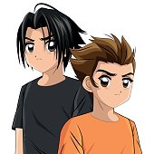 Boy anime male manga cartoon comic icon. Colorfull and isolated illustration. Vector graphic