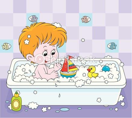 Gar on dans la salle de bain clipart vectoriel thinkstock for Salle de bain garcon
