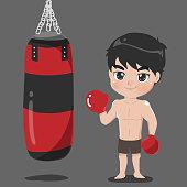Boy boxer with sandbag Carrier.
