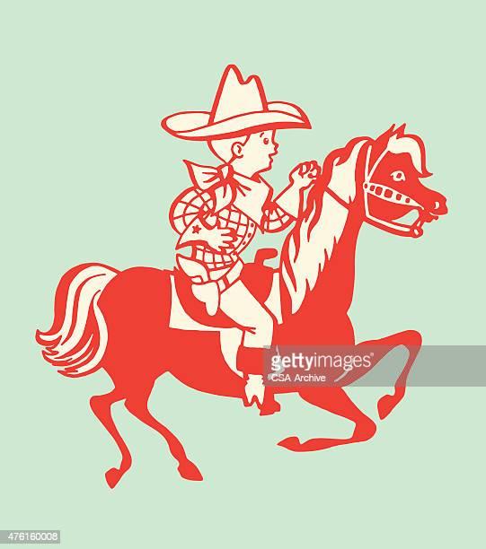 Boy Cowboy Riding Horse
