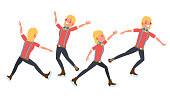 Man Athlete Figure Skating. Ice Figure Skater Vector. Athletes Winter Sport. In Action. Synchron Dancer. Different Poses. Isolated Flat Cartoon Character Illustration