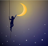 boy hanging on the rope and touching the moon, on the heavens, dream, shadows