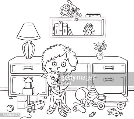 Boy In His Room Black And White Vector Art Thinkstock