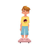Boy, kid, child standing still on weight scale, medical examination, health check concept, cartoon vector illustration isolated on white background. Teenage boy, kid, child, standing on weight scale