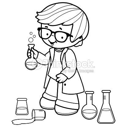 Boy Hacer Experimentos De Ciencia Blanco Y Negro Para Colorear ...
