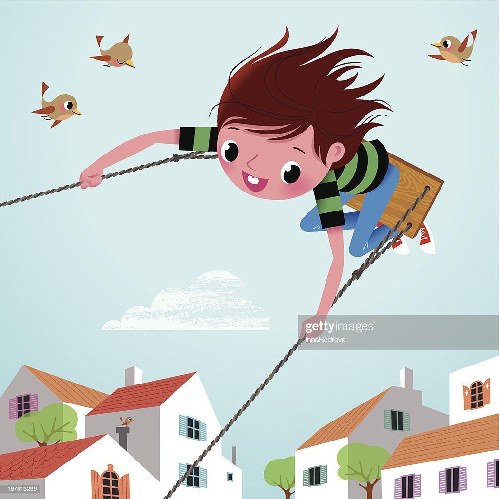 Boy on the Swing. : Vector Art