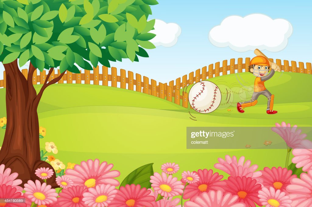 Boy playing cricket : Vector Art