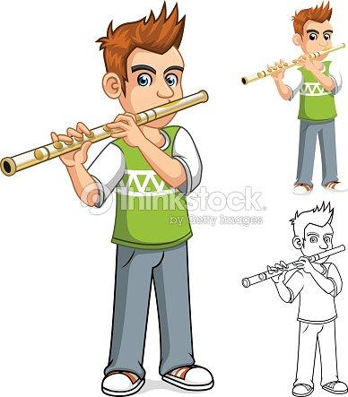 Personnage de dessin anim gar on jouant la fl te clipart - Dessin de flute ...