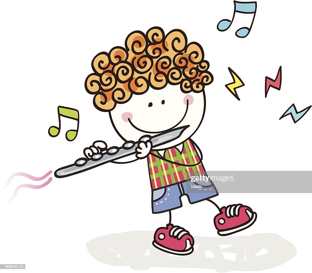 Boy Playing Flute Vector Art   Getty Images