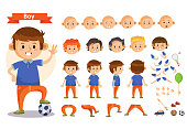 Boy playing sport and toys cartoon character vector constructor isolated icons of body parts, hair and emotions or uniform garments and playthings. Construction set of young boy child playing soccer
