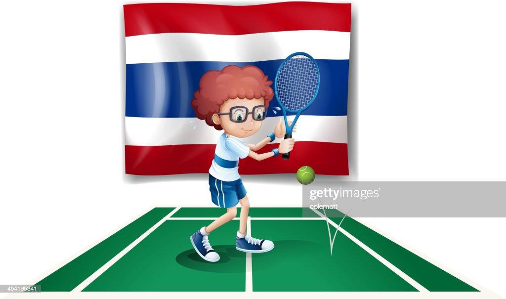 Niño jugando al tenis en frente del Tailandia bandera : Arte vectorial