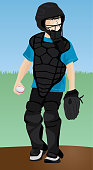 Young boy in catcher position playing youth league baseball with helmet, ball, mitt, and chest protector outdoor colorful vector illustration.