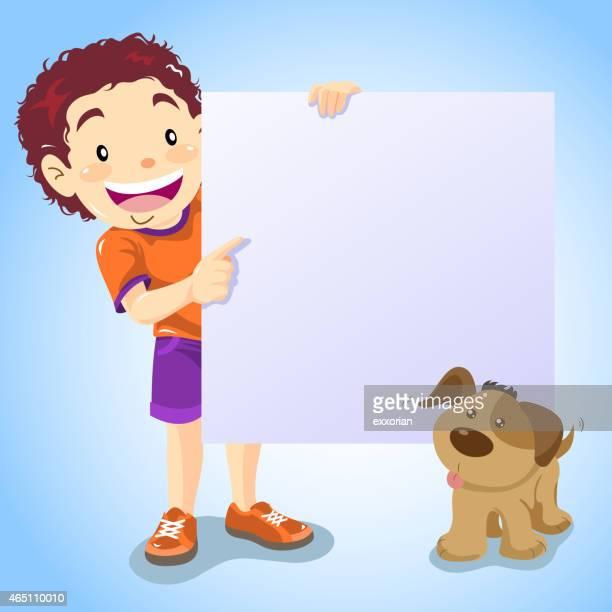 Ragazzo che indica la comunicazione con il suo cane