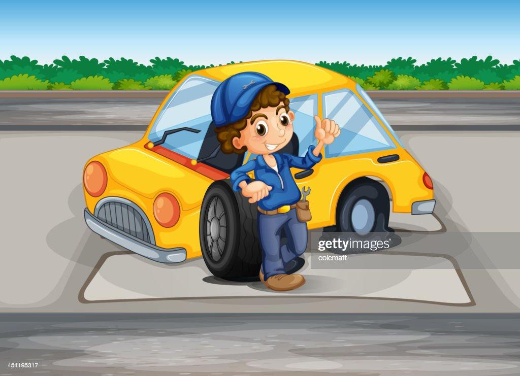 Boy reparing the damaged car : Vector Art