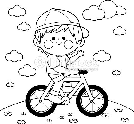 Niño Manejando Una Bicicleta En El Parque Blanco Y Negro Para ...