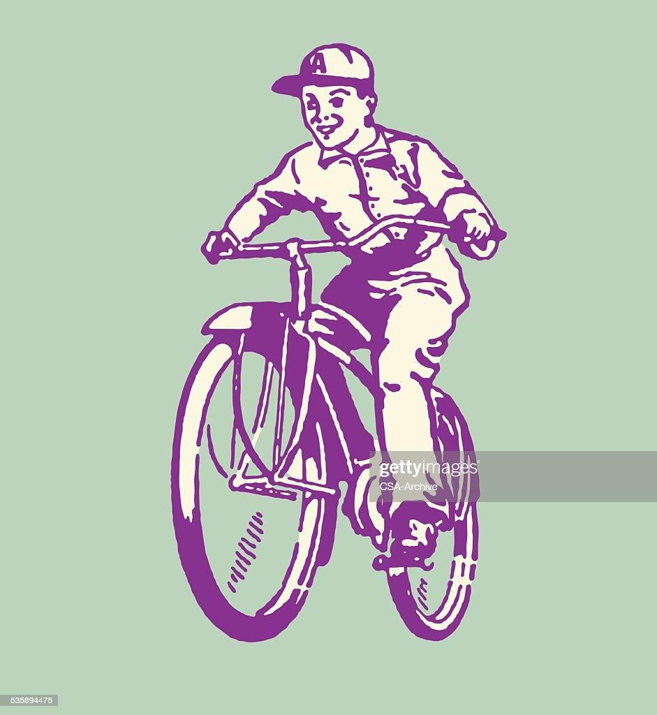 Junge Reiten Fahrräder : Vektorgrafik