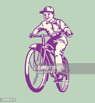 Boy Riding Bicycle : Vectorkunst