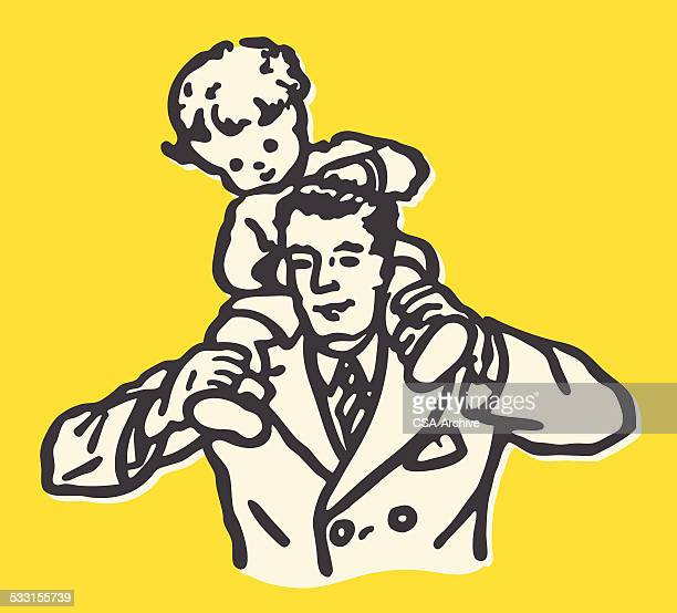 Boy Riding on Father's Shoulders