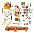 vector illustration of boy scout with camping equipment and object