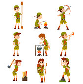 Boy scouts set, boys in scout costumes with hiking equipment, summer camp activities vector Illustrations isolated on a white background.