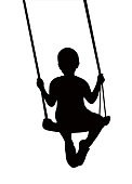 Boy swinging silhouette vector