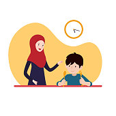 boy waiting for iftar time break fasting with his mother wearing hijab. family ramadan activity illustration concept vector design.