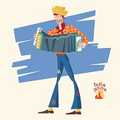 Boy with an accordion. Brazilian holiday Festa Junina (the June party). Vector illustration
