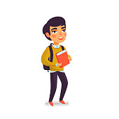 A boy with book and backpack on white background. Happy student. Elementary school pupil. Cheerful young man. Back to school. Vector illustration in flat cartoon style with grain texture
