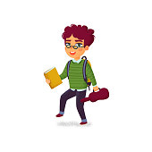 A boy with book, violin and backpack on white background. Music lessons. School of Music student. Elementary school pupil. Back to school. Vector illustration in flat cartoon style with grain texture