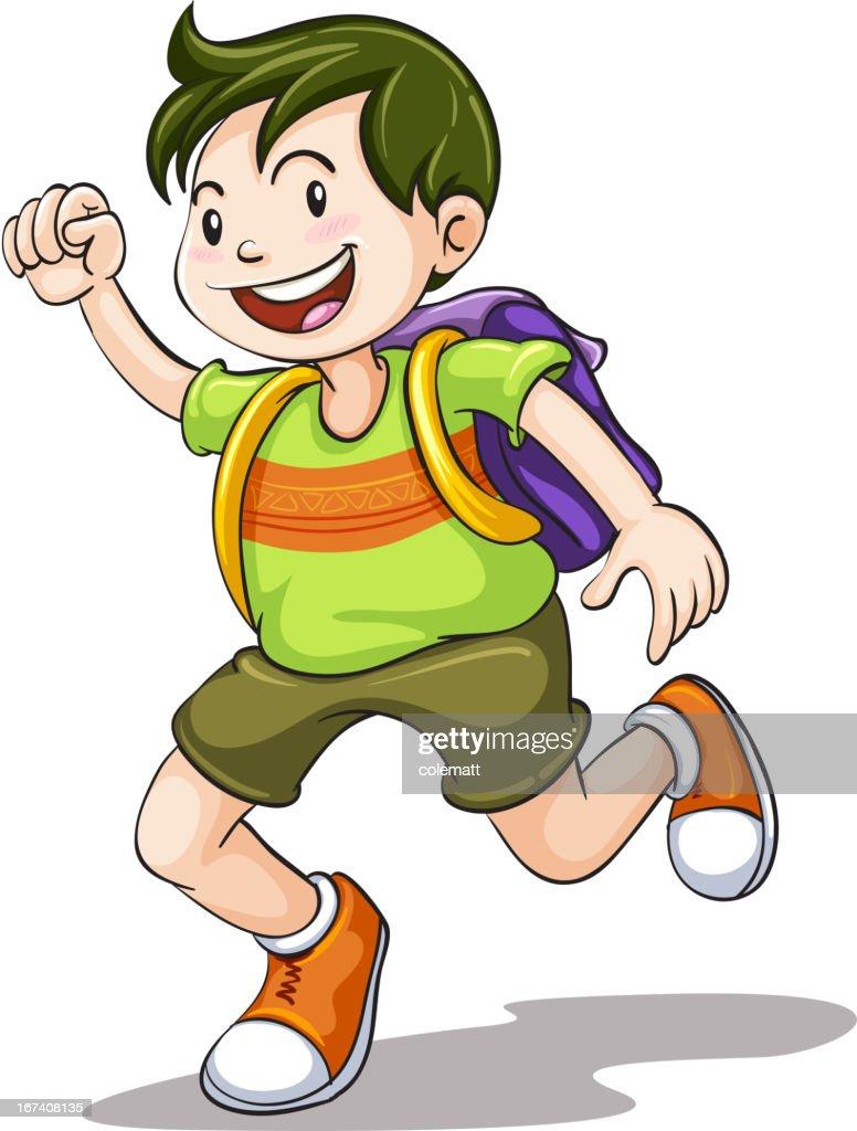 Petit garçon avec sac d'écolier : Clipart vectoriel