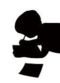 A boy writing, silhouette vector