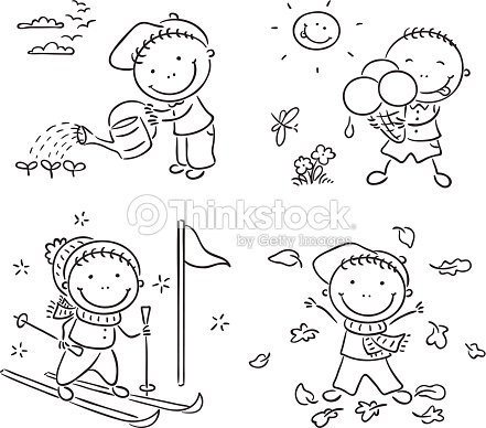 Boys Activities During The Four Seasons Vector Art