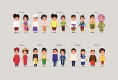 character of ASEAN boys and girls in traditional costume