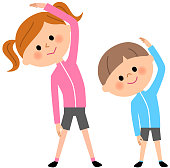 It is an illustration of a boy and girl who gym.