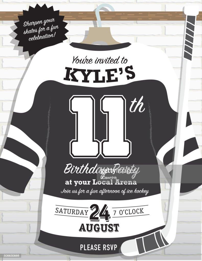 Boys Birthday Party Hockey Jersey Themed Invitation Design Vector – Hockey Birthday Party Invitations