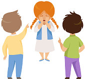 Boys mocking and pointing at a crying girl, bad behavior, conflict between kids, mockery and bullying at school vector Illustration isolated on a white background.