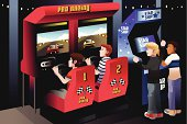A vector illustration of boys playing car racing in an arcade