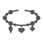 Bracelet with heart glyph icon, jewellery and accessory, bracelet with pendants sign, vector graphics, a solid pattern on a white background, eps 10.