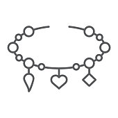 Bracelet with heart thin line icon, jewellery and accessory, bracelet with pendants sign, vector graphics, a linear pattern on a white background, eps 10.