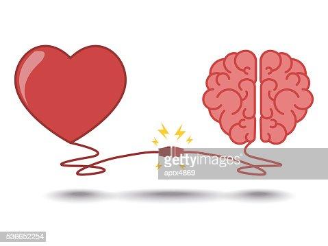 Cerebro y el corazón de interacciones concepto mejor trabajo en equipo : Arte vectorial
