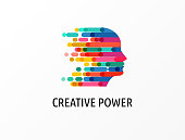 Brain, Creative mind, learning and design icons. Man head, people symbols - stock vector