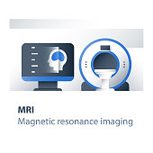 Magnetic resonance imaging procedure, medical services, health care check up, head diagnosis and analysis, brain examination, find tumor, desktop screen, vector flat icon