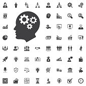 Brain Gears vector icon on white background. Business set of icons