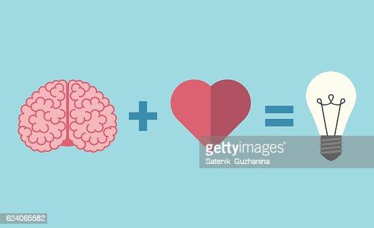 Brain, heart and lightbulb : Arte vectorial