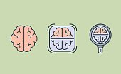 Brain icon collection with Magnifying glass and frame. Illustration about medical check concept and internal organ.