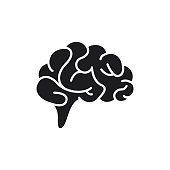 Vector illustration of Brain icon flat